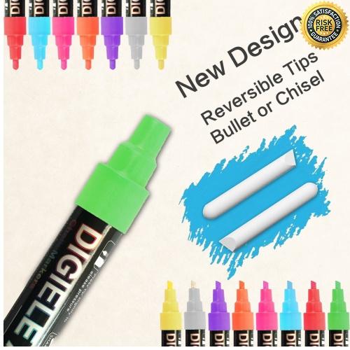 Rotuladores-de-Tiza-Liquida-DIGIELE-8-Llamativos-Colores-con-32-Etiquetas miniatura 3
