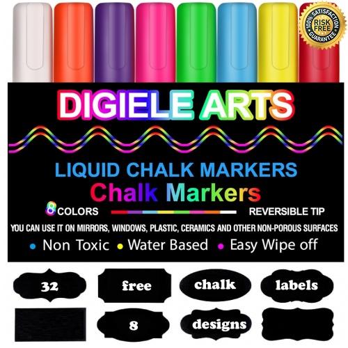 Rotuladores-de-Tiza-Liquida-DIGIELE-8-Llamativos-Colores-con-32-Etiquetas